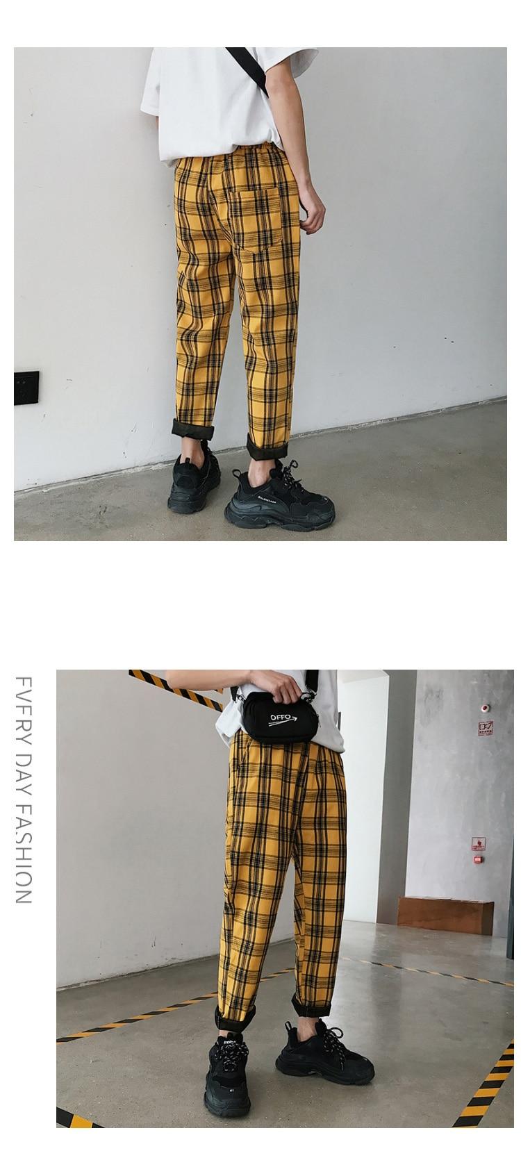 LAPPSTER Streetwear Yellow Plaid Pants Men Joggers 19 Man Casual Straight Harem Pants Men Korean Hip Hop Track Pants Plus Size 4