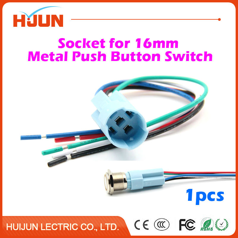 1pcs 16mm Socket for Metal Push Button Switch with 5 Wires Stable Lamp Light Button Terminals Base Use Easy Installation 660v ui 10a ith 8 terminals rotary cam universal changeover combination switch
