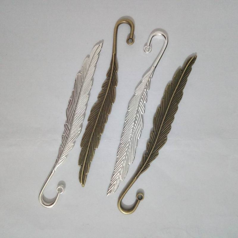 200 PCS DIY Silver Bronze Tone Feather Bookmarks Jewelry Making Findings 11 5cm 4 5 8