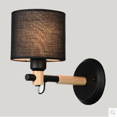 Wall Sconce Modern LED Wall Lights Fixtures Fabric Lampshade For Bedroom Wooden Beside Lamp Arandela Lamparas Pared modern brief fashion fabric lampshade purple 5w led wall lights for bedroom aisle wedding decoration lamp a259