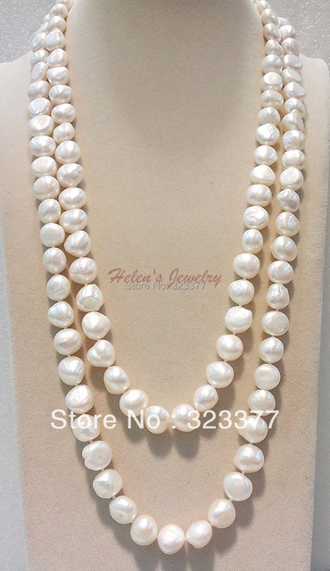120-125CM Big 10-11MM Flat Baroque Freshwater Pearl Sweater Necklace. Very Nice For Parties!
