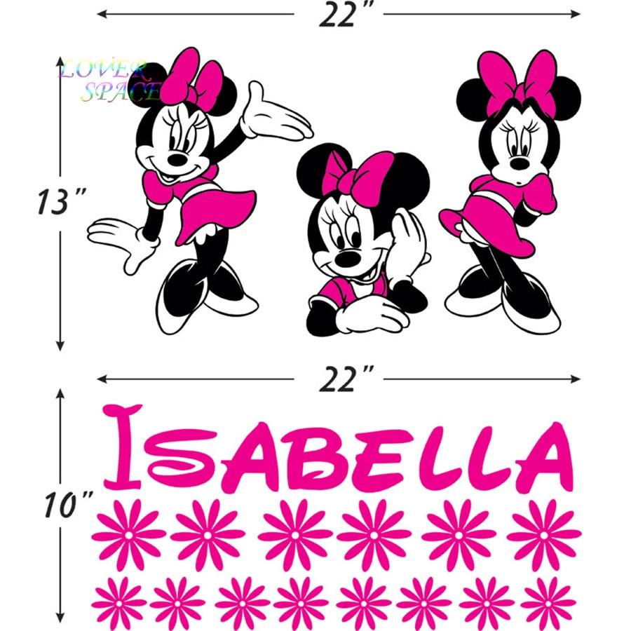 Personalized Name Minnie Mouse Vinyl Decals Sticker Art Walt Cartoon