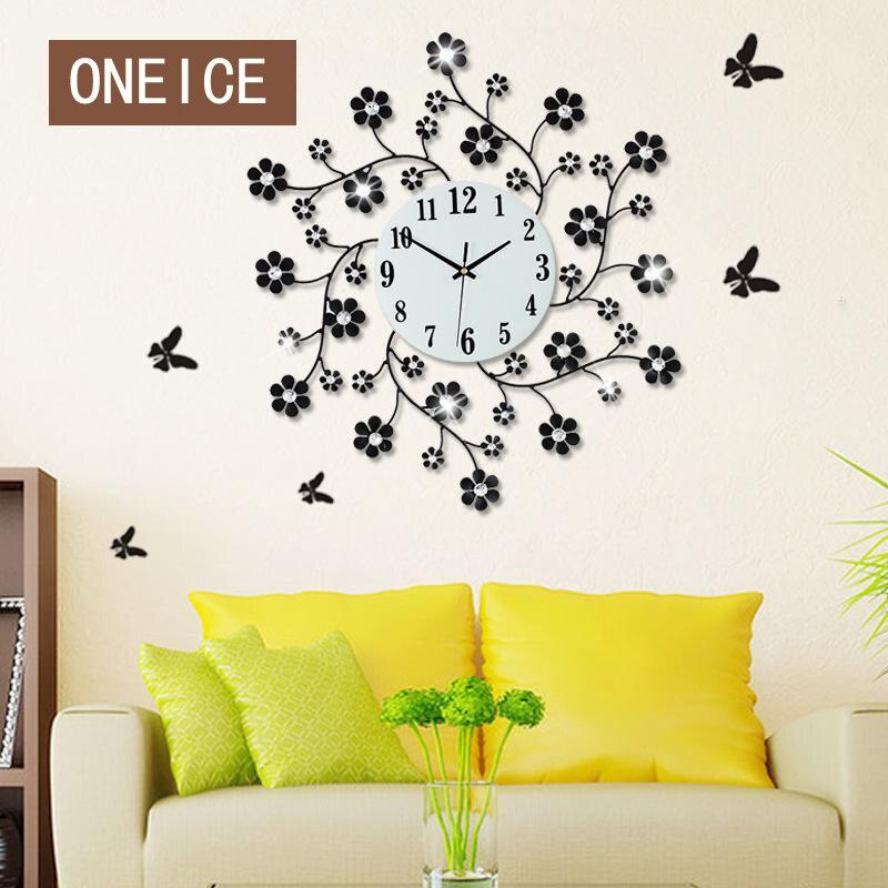 Pastoral Flower Iron Rhinestone Living Room Bedroom Watch Clocks Large Decorative Wall Clock horloge Wall Stickers