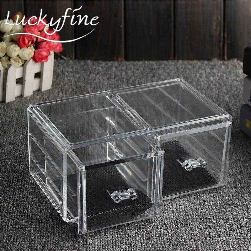 New Small Clear Acrylic Coemetic Storage Makeup Tool Cotton Jewelry Swab Organiser Nail Polish Lipstick Desktop Storage Boxes