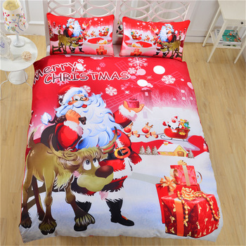 JaneYU 3 Pcs Christmas Bedding Set US/EU Size Santa Claus 3D Bedding Set Duvet Cover+Pillowcase Merry Christmas Gift Home Decor