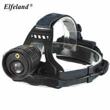 Elfeland 4 Modes Rechargeable Zoomable Red Laser LED Headlight press switch 18650 headlamp bicycle head torch for camping