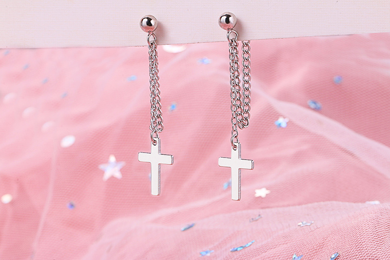 925 Solid Sterling Silver Cross Tassel Charm Drop Earrings for Women Jewelry Party Accessories pendientes Brincos eh1034 9