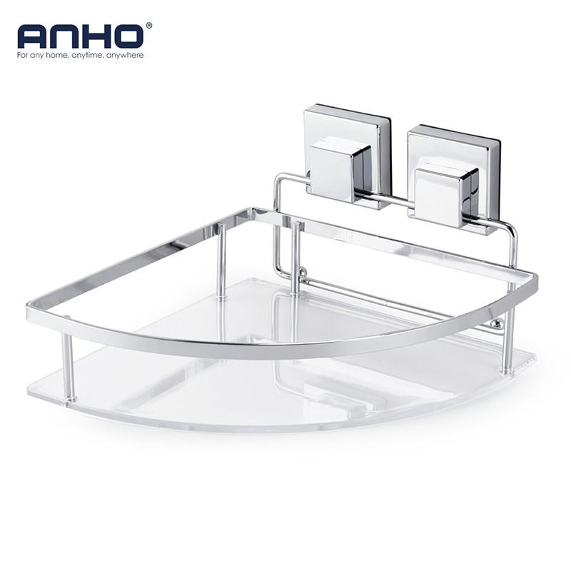 ANHO Sucker Corner Shelf Bathroom Kitchen Rack Storage Strong Vacuum Shampoo Shower Cosmetic Holder Accessories