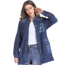 Women Denim Coat 2018 Spring Loose Broken Hole Casual Female Cowboy Jacke New Print Medium Long jackets for women