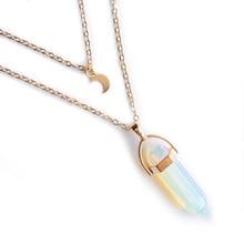 Модные простые европейские и американские женские большое ожерелье Луна шестиугольный кулон Чокеры Nacklace