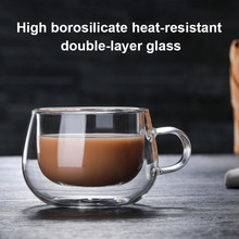 Double-layer Transparent Heat Resistant Glass Coffee Cup with Handle SDF-SHIP