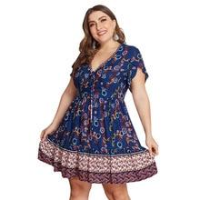 Summer Big Size Dresses for Women Super Casual Slim Floral Bohemian Dress Ladies Oversized Plump Girl Elegant