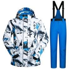 Nouveau En Plein Air de Ski Costume Hommes Coupe-Vent Imperméable Thermique Snowboard Neige Mâle Ski Veste Et Pantalon ensembles Vêtements de Ski De Patinage Vêtements
