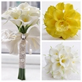 18pcs Calla Lily Flowers Bridal Wedding Bouquets Formal Bridesmaid Garden Church Beach White Yellow Wholesale Lace Bandage