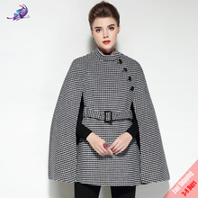 FREE DHL High Quality Fashion Designer Winter Coat Women's Plaid Wool Cloak Coats Vintage England Style Cape Poncho Overcoat(China)