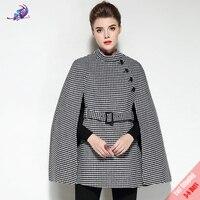 FREE DHL High Quality Fashion Designer Winter Coat Women's Plaid Wool Cloak Coats Vintage England Style Cape Poncho Overcoat
