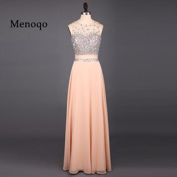 2020 Evening Dresses Chiffon Floor Length Sequins Sleeveless Party Gowns 121813W