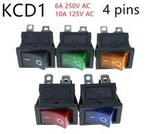 KCD1 On-Off 4Pin клавишный переключатель 6A/10A 250V/125V AC красный желтый зеленый синий Кнопка Лучшая цена KCD1