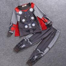 Купить с кэшбэком Toddler pajamas spiderman cosplay costume kids Batman Ninjago round neck worsted Pajama Sets boys clothing cartoon teenages 2-8Y