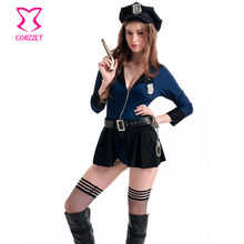 b12fcbade10e Blue Halloween Sexy Spandex Polyester Police Costume Traffic Cop Dresses  Police Cosplay Uniform For Women Jumpsuits Long Rompers