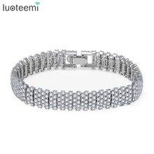 LUOTEEMI Europe Fashion Luxury Pure Brilliant Cut Zircon Prong Setting GeometricTennis Bangle Bracelets For Women Wedding