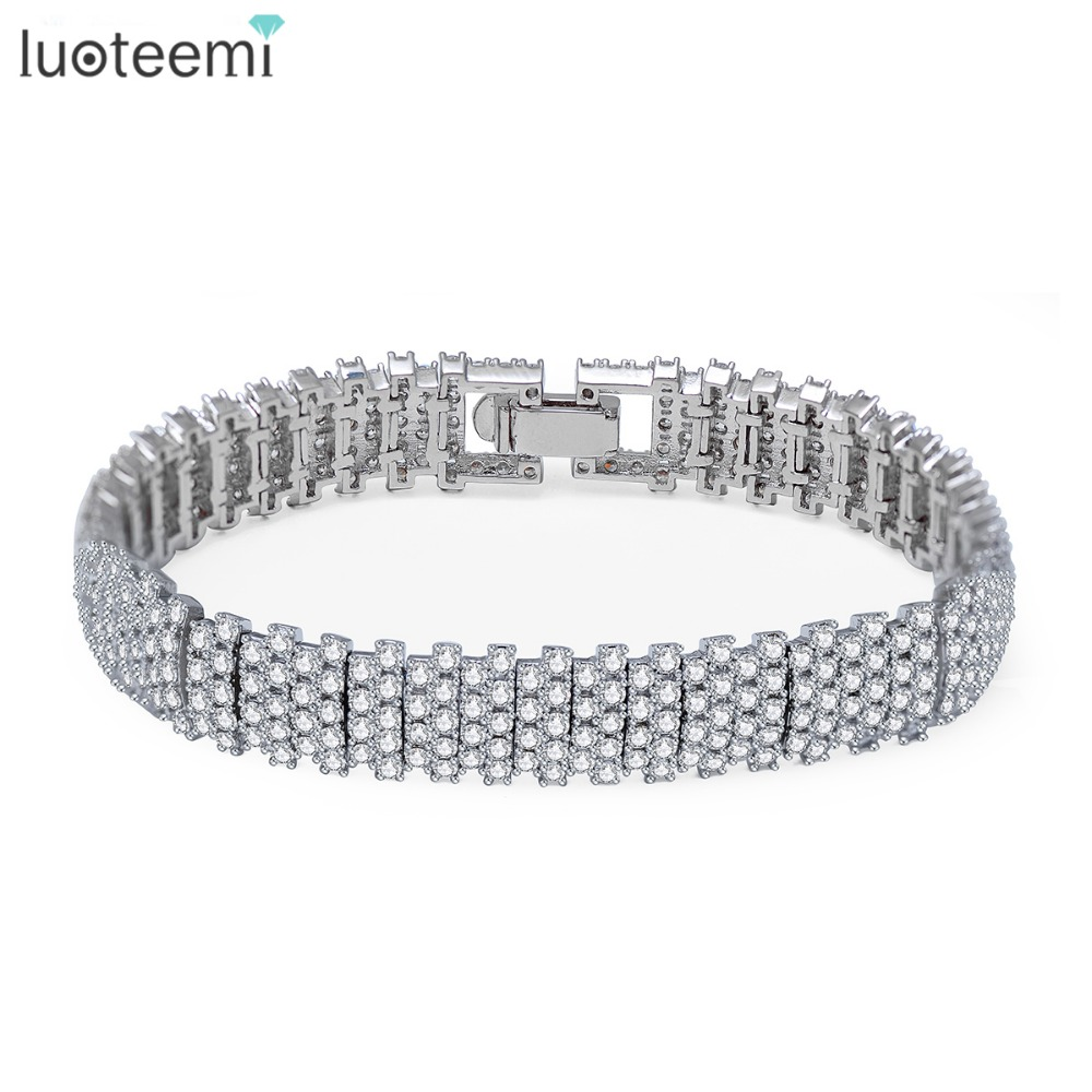 LUOTEEMI Europe Fashion Luxury Pure Brilliant Cut Zircon Prong Setting GeometricTennis Bangle font b Bracelets b