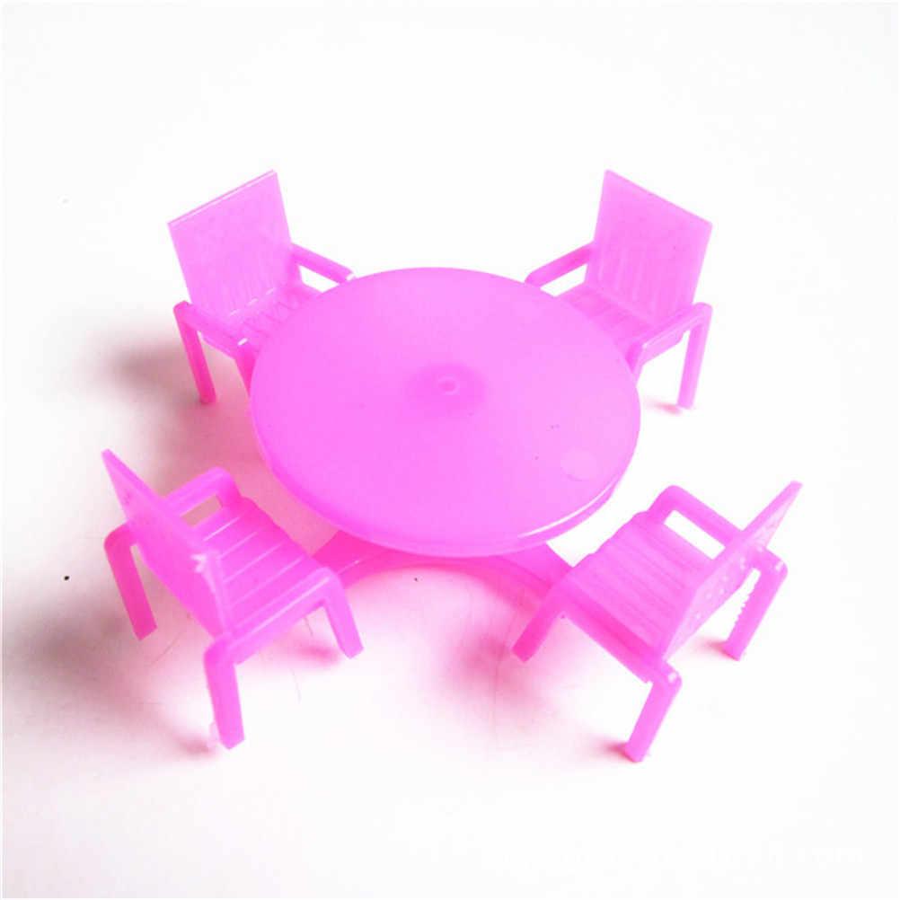 TOYZHIJIA vajilla (4 sillas + 1 escritorio) juguetes para jugar a las casitas Rosa guardería silla de bebé escritorio para casa de muñecas muebles de casa de muñecas