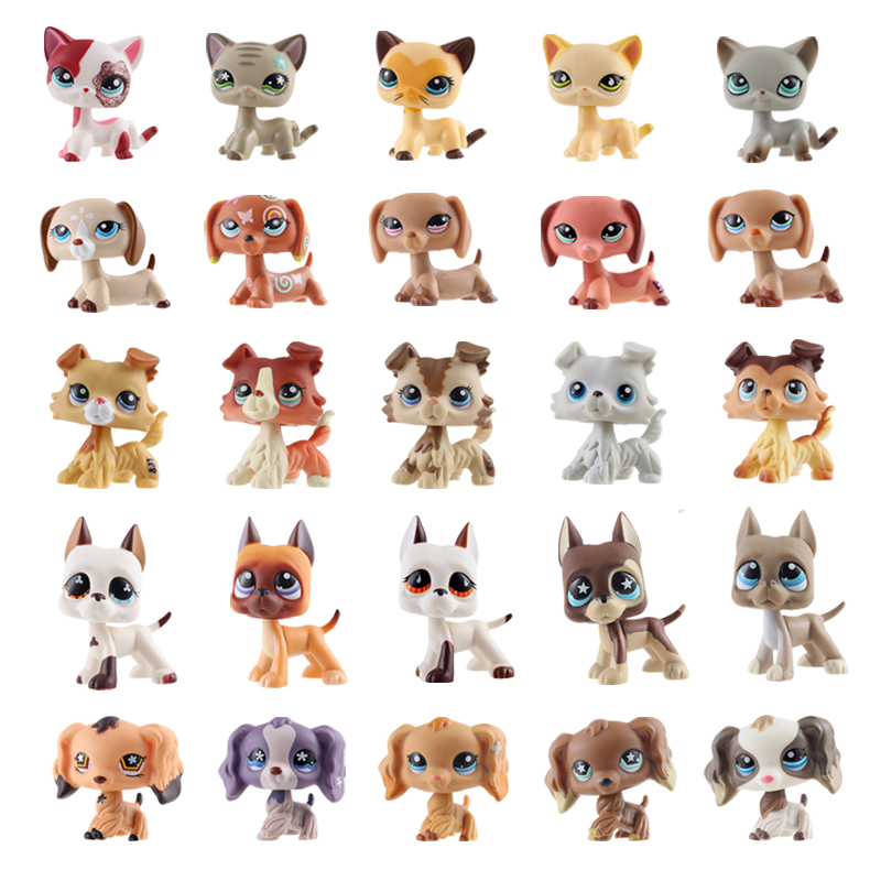 Lps Pet Shop Lps Toys Dog Real White Brown Old Puppy Littlest Animal Figure Cute Child Christmas Gifts Free Delivery