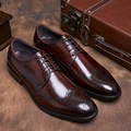 Bullock Carved Retro Shoes Leather Business Suits Men Winklepicker Male British Summer Ventilation Shoes