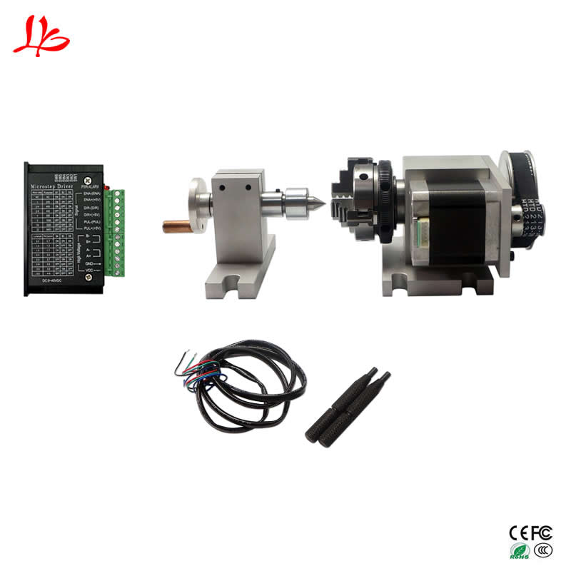 Cnc Machine Rotation Axis K50 Dividing Head Center Height 44MM Activity Tailstock With Original Motor Driver