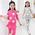 Розничных девочек цветок печатных комплект одежды на весну и осень 2014 хлопка с длинным рукавом и узкие пант юбка комплект 2 шт.