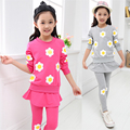 Retail Girls' Flower Printed Clothing Set for Spring & Fall 2014 Cotton Long Sleeve Top and Skinny Pant Skirt Tutu Set 2 pieces