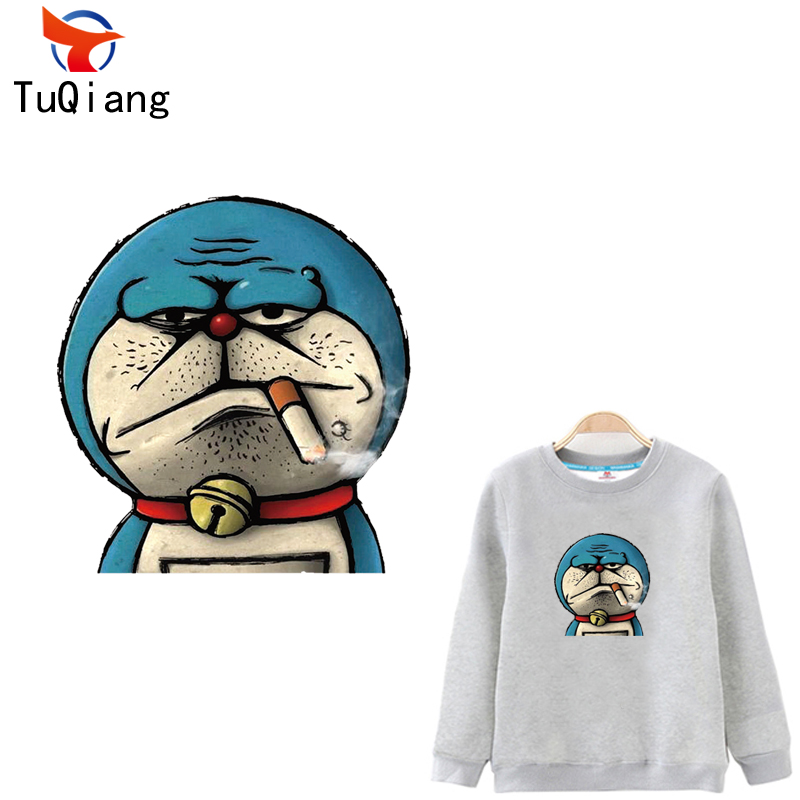 5pcs Funny old smoking cat Doraemon Patches For Clothes A-level Washable DIY Accessory Iron On Transfer Parches Para La Ropa