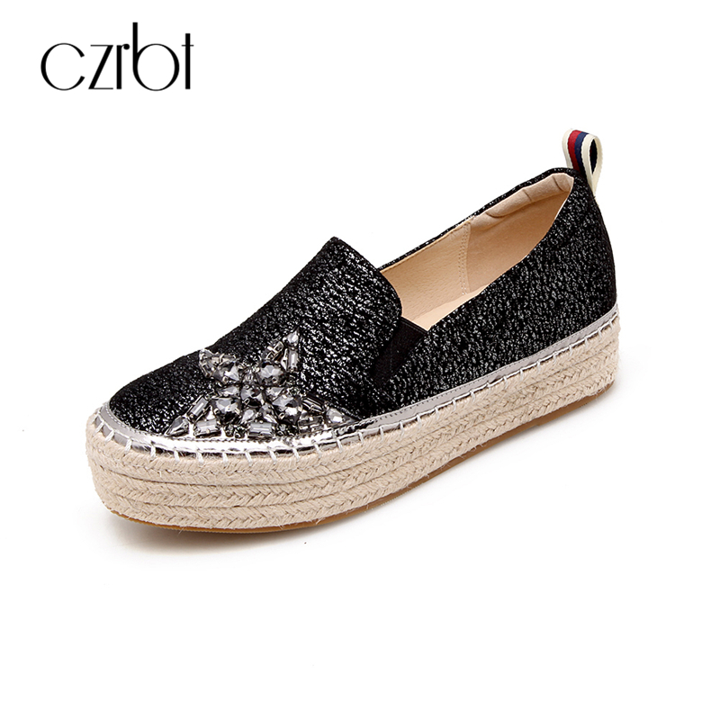 CZRBT Fashion Casual Shoes Women Flat Flatform Shoes Natural Suede Crystal Slip On Flats Women Loafers Spring Autumn Flat Shoes цена