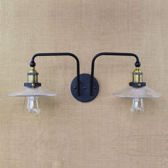 Double Swing Arm Wall Lights E27 Clear Gl Lampshade Sconce Iron Nordic Vintage Bar