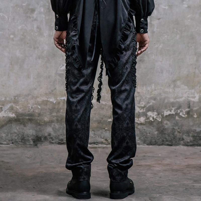 Pantalones Largos Seda Slim Victoriano Traje Corte Moda De Alta Casual Steampunk Cintura Bordado Negro xU4OItUnS