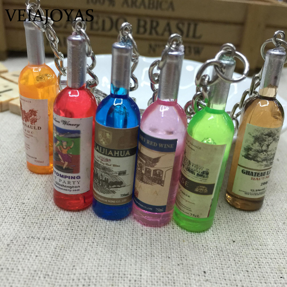 10pcs/lot Cute Best Friends Gift Resin Wine Bottle Keychain Assorted Color Women Car Bag Keyrings Jewelry Accessories Wholesale