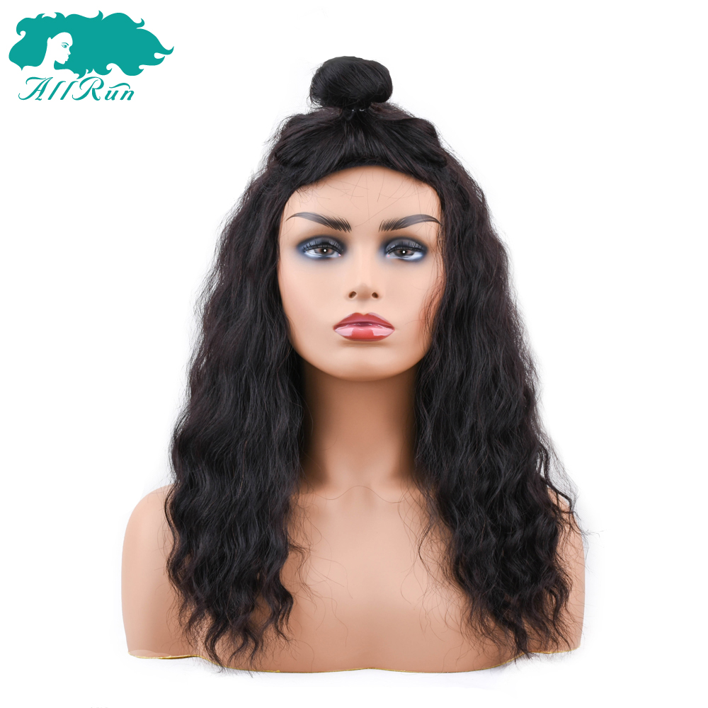 Lace Wigs Fast Deliver Allrun Indian Ocean Wave Human Hair Wigs With Adjustable Bangs Human Hair Wigs Non Remy Hair Wigs Full Machine Natural Color