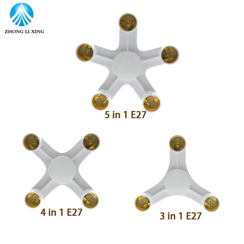 3 4 5 In 1 E27 To E27 Base Socket Splitter LED Light Lamp Bulb Adapter Holder
