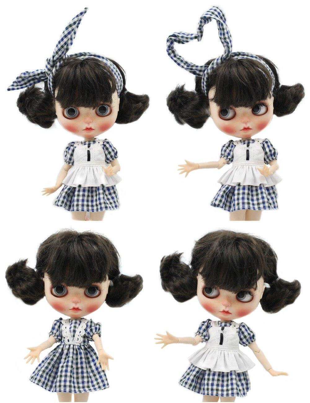 Neo Blythe Doll Plaid Dress Lace Neck 1