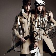 2017 femmes de mode Européenne piste fille transparent imperméable pluie manteau vendre comme des petits pains de style, PVC manteau imperméable vêtements de pluie
