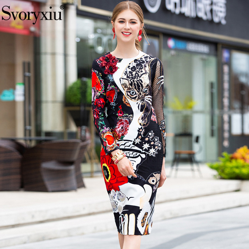 Svoryxiu Fashion Runway Black Midi Dress Women s Sexy Perspective Grid Sleeve Leopard Print Appliques Vintage