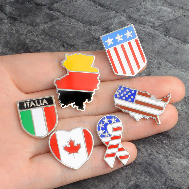 QIHE JEWELRY Germany Canada Italia America Flag Map Enamel pins Brooches  Badges Lapel pin Brooches for men women