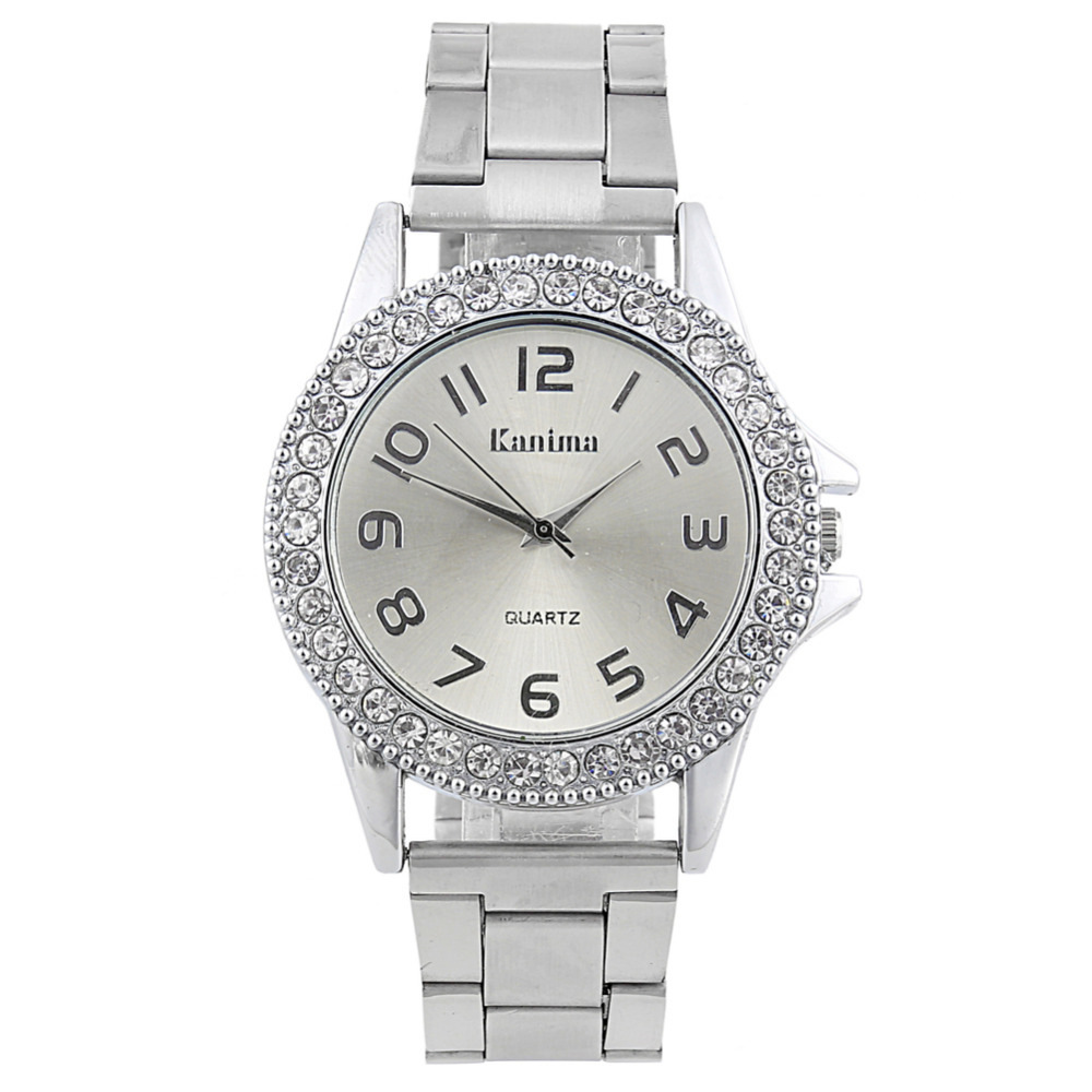 Yeni Moda Klasik İzle Kadınlar Lüks Kristal Paslanmaz Çelik - Kadın Saatler - Fotoğraf 4