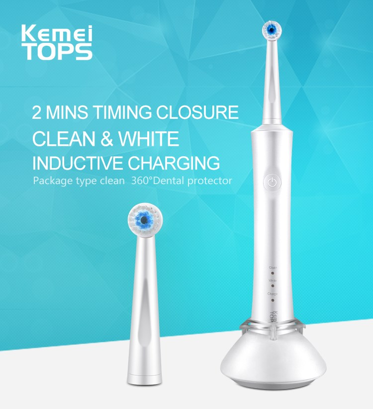 Kemei908 2 Minutes Timing  Closure Toothbrush Ultrasonic Sonic Rotary Electric Replacement Heads Tooth Brush Clean And White 16pcs best sonic electric toothbrush replacement for philips sonicare brush heads hx6064 diamond clean soft bristles black new