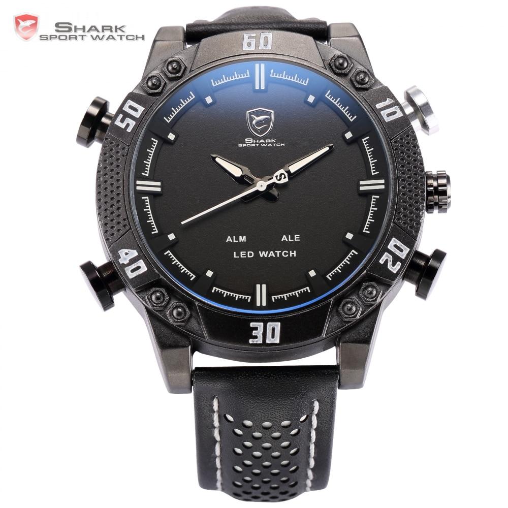 Prix pour Kitefin Shark Sport Montre Noir Blanc En Acier Inoxydable Auto Date Alarme En Cuir Bande Quartz Mâle Horloge Mens Numérique Montres/SH264