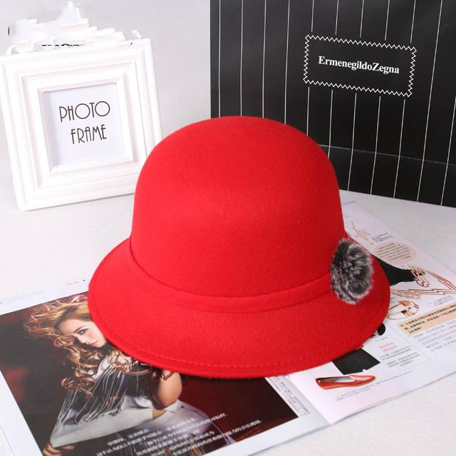Nuevo otoño y el invierno de las mujeres de moda pequeño sombrero Pura bola de pelo de las mujeres del sombrero del sol