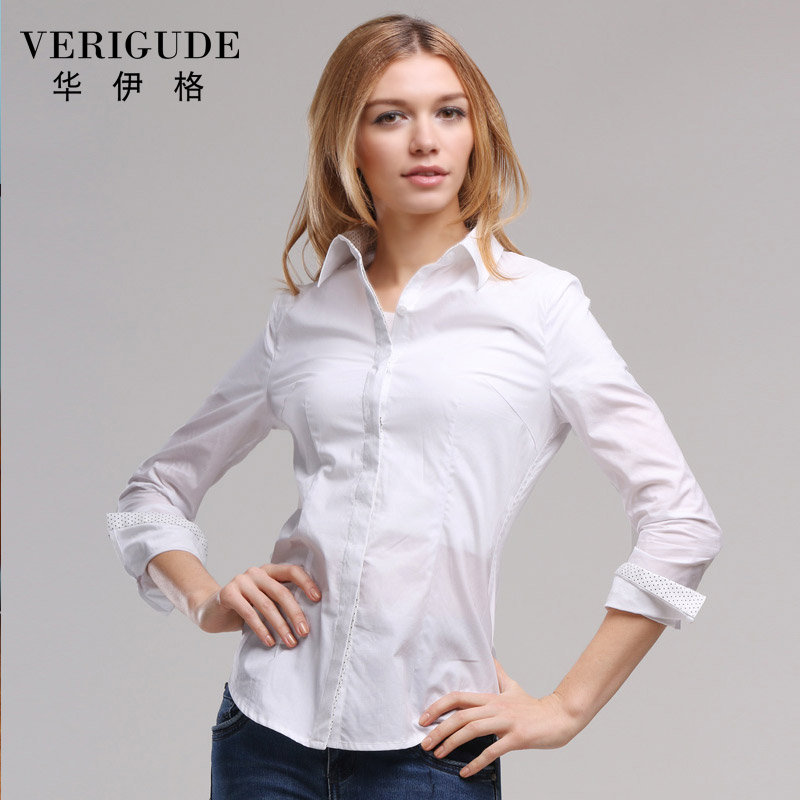 Veri Gude Women Solid White Blouses Long Sleeve High Quality Tops Turn-Down Collar Slim Fit Work or Casual All Match O-Neck