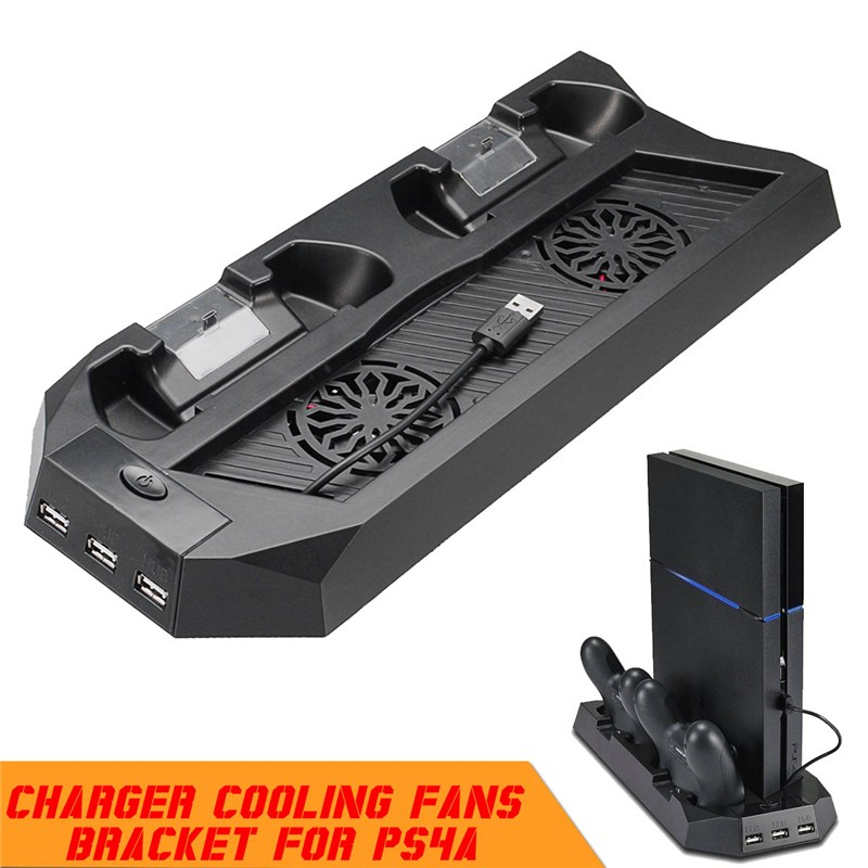 Vertical Stand Station For PS4 Video Game Console Gamepad Charger For Playstation 4 With Cooling Fan Functional Stand Charger
