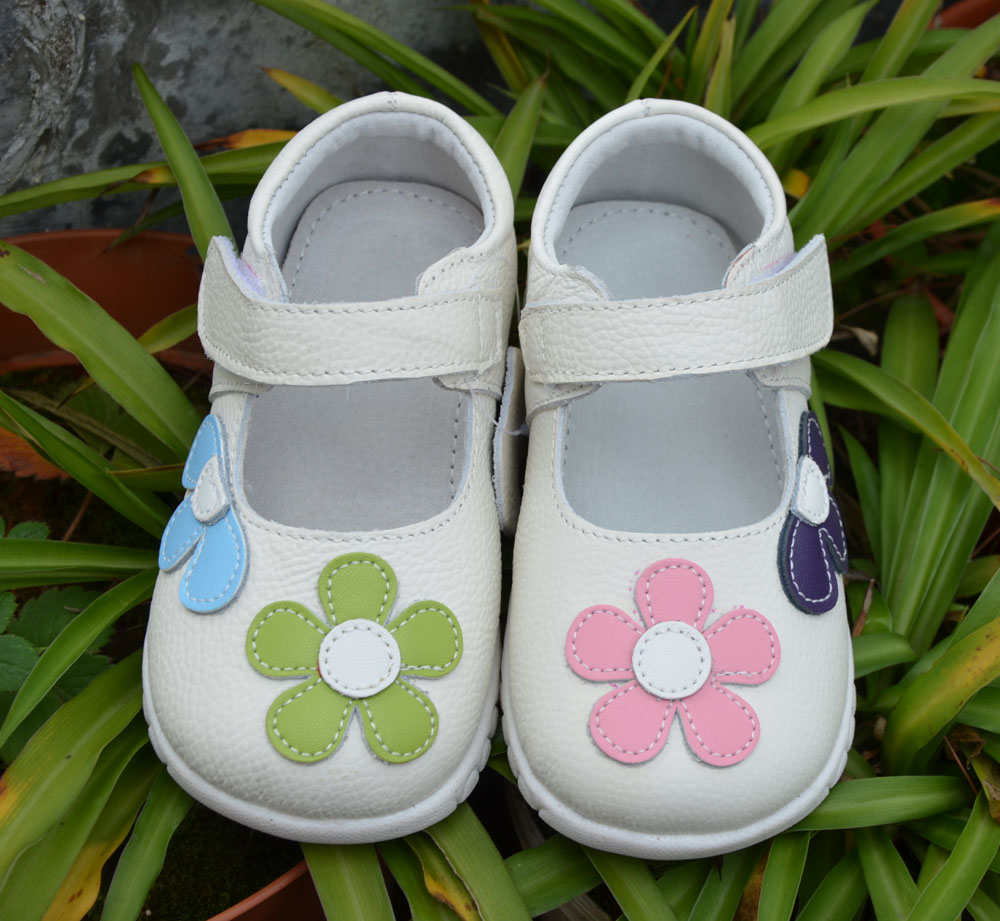 girls shoes genuine leather black mary jane with flowers white rose children shoes good quality stock little kids beautiful shoe